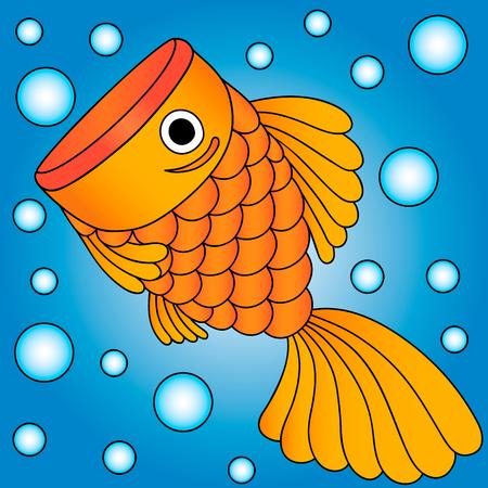 illustrator of golden fish in water, bubble, cartoon