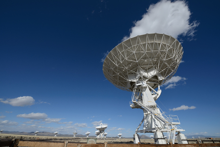 array: Huge antenna dish at Very Large Array, searching for imaging signal in space