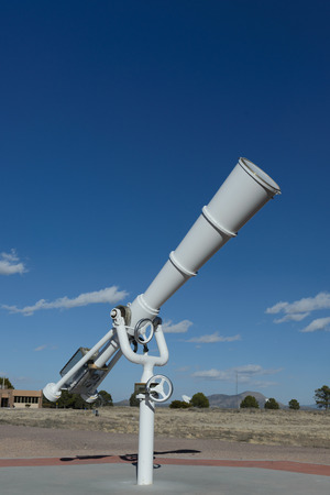 White big telescope at outdoor for sky observatory 免版税图像
