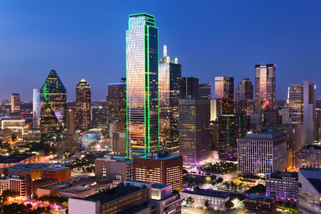 Dallas City Skyline at dusk, sunset. Dallas Texas downtown, business center. Commercial zone in big city. Dallas City view from Reunion Tower. Stok Fotoğraf