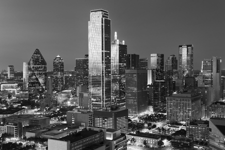 Dallas City Skyline at dusk, sunset. Dallas Texas downtown, business center. Commercial zone in big city. Dallas City view from Reunion Tower. Black and white tone. Stock Photo