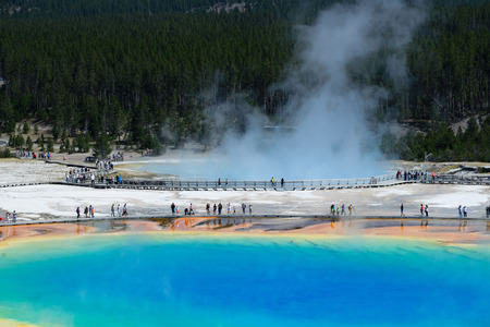 Famous trail of Grand Prismatic Springs in Yellowstone National Park from high angle view. Beautiful  hot springs with vivid color blue green orange in Wyoming. Stock Photo