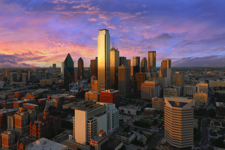 Dallas City Skyline at dusk, sunset. Dallas Texas downtown, business center. Commercial zone in big city. Dallas City view from Reunion Tower. Imagens