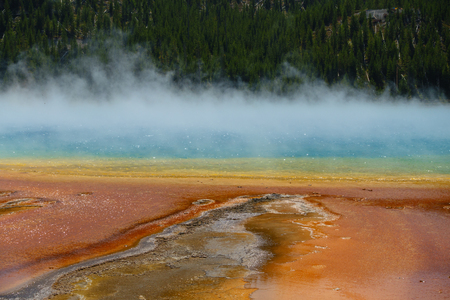 Famous trail of Grand Prismatic Springs in Yellowstone National Park. Beautiful  hot springs with vivid color in Wyoming. Imagens