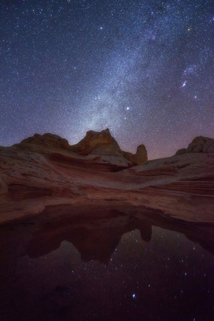 Beautiful milky way at White Pocket Wilderness touring spot in Arizona desert.