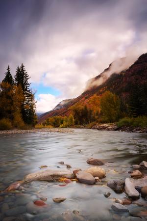 Cloudy day at small creek in Colorado during Fall, Autumn, Season. Winter season