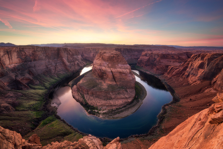 Beautiful sunset at Horseshoe Bend, Grand Canyon National Park, Page city, Arizona - Utah State line