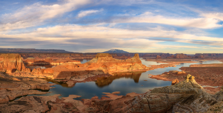 Panoramic view of Alstrom Point, Lake Powell, Arizona-Utah state line. Beautiful cloud formation.