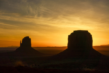 The mittens, Mesa, red rock at Monument Valley, Navajo Tribal Park, Arizona USA