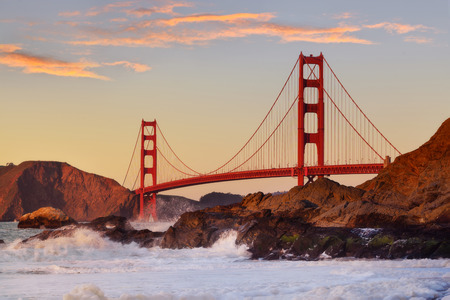Beautiful Golden Gate the entrance to San Francisco, California, USA. Sunset and clear sky Stock Photo