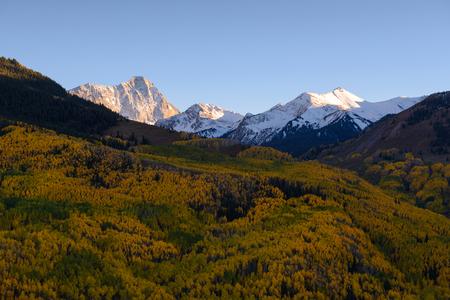 가 단풍 색상 캐년 피크, snowmass 마, 콜로라도입니다. 가을 시즌 동안 황금 아스펜. 스톡 콘텐츠