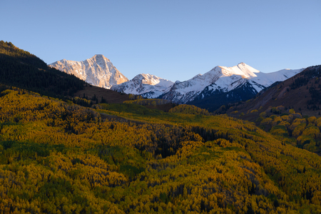 Fall foliage color Capital Peaks, snowmass village, Colorado. Aspen golden during Autumn season. Imagens