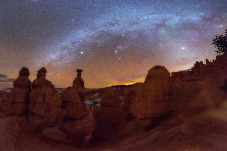 Panoramic of Milky Way over Hoodoo in Bryce Canyon National Park, Utah