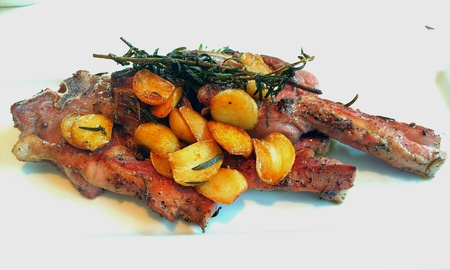 grill: Grilled lamb steak with garlic