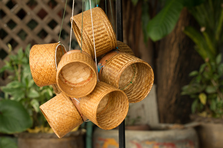 cohesive: Many Kratip rice hangs together as a cohesive materials stored inside Thailand. Stock Photo