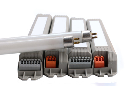 t5: Fluorescent T5 and Electronic BallasTubes energy savings on White Background. Stock Photo