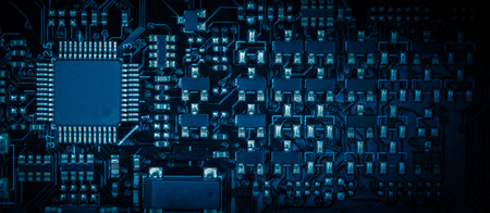 processor: close-up of electronic circuit board with processor.