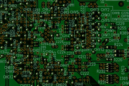 cir: Integrated circuit,chip, cir,Green PCB (close-up shot) for use as background image.