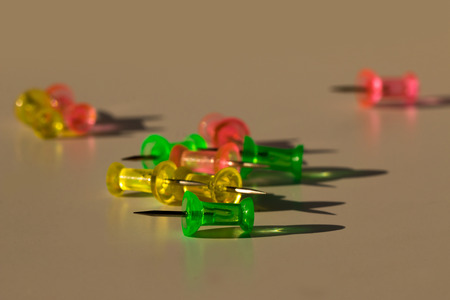 push in pins: Push pins find the brown Light from the sun.