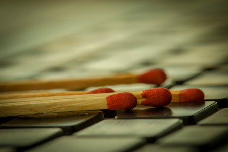 Keyboard,Matchstick, Many matches were placed on the keyboard Computer. Stock Photo