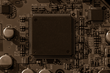 cir: Background black board computer including the CPU, chip-set, consumer electronics. Stock Photo