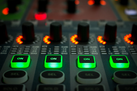 ch: mix,control,stereo,equalizer,digital,electronic,Mixer, mix,control,stereo,equalizer, digital,electronic,Control of high-quality audio and equalizer volume on the mixer.on work 4 CH. Stock Photo