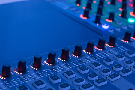 audio mixer: mix,mixer,frequency,Mixer,Control of high-quality audio and equalizer volume on the mixer. Stock Photo