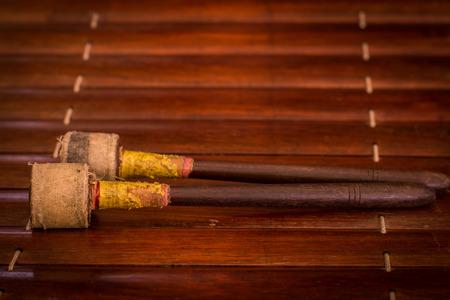 thai musical instrument: xylophone, ancient, old,Thailand ancient gamelan instruments