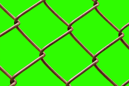 Close the wire mesh behind green background. Stock Photo