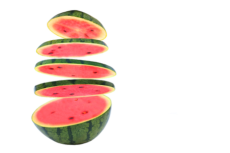 Watermelon isolated red on the white floor. Standard-Bild - 97766040