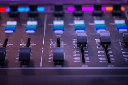 Mixer,Control of high-quality audio and equalizer volume on the mixer. Standard-Bild - 101858036
