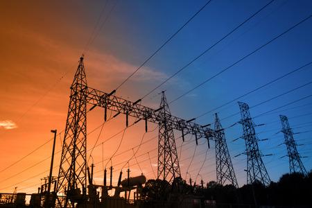 Electricity power station,Power distribution system to sunset sky background. Standard-Bild - 111357177