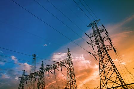 Electricity power station,Power distribution system to sunset sky background. Standard-Bild - 111357181