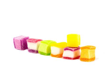 Marshmallow mixed jelly gelatin finished,on the White Blackground. Standard-Bild - 111357189