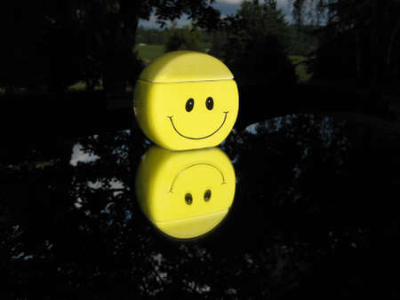 Yellow smiley face with a mirrored reflection