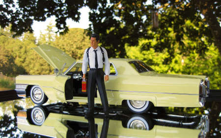 A business man holding a gas can standing outside of the drivers side door having car problems with a car isolated on a mirrored background.