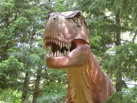 Extremely detailed Tyrannosaurus Rex Dinosaur showing aggression in a forest setting  Stock Photo