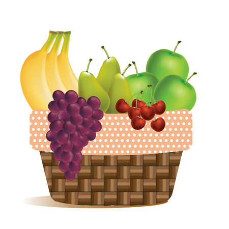 Fruits in harvest basket for picnic, dinner table outdoor party - Illustration vector flat cartoon icon