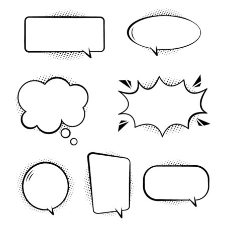 Set of comic speech bubbles. Retro empty bubbles with black halftone shadows on transparent background. Effects in pop art style. White set bubbles for talk and message. Isolated fun balloons. Vector. Vettoriali