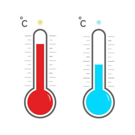 Thermometer with scale measuring heat and cold, with sun and snowflake icons. Meteorological thermometers on a white background. Blue and red thermometers. Summer and winter. Thermostat icon. Vector