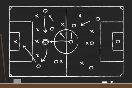 Soccer strategy on the black board with point stick, washcloth and chalks. Drawing tactical scheme for football team. Soccer tactic chalkboard. Graphic training coach. Sketch football stadium. Vector.