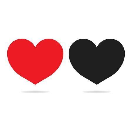 Red and black heart icons isolated on white background. Valentines Day. Love symbol. Button for web, social nets. Banner of likes. Concept romantic and care. Symbols for marriage decoration. Vector.