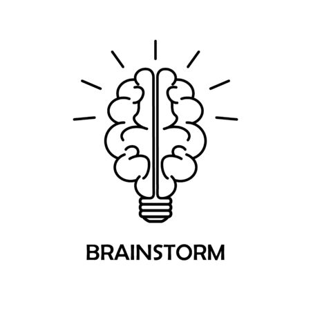 Brainstorm line icon on isolated background. Creativity and thinking concept. Brain light - best idea and genious solution. Logo Template of memory and intellect. Imagination is power succes. Vector