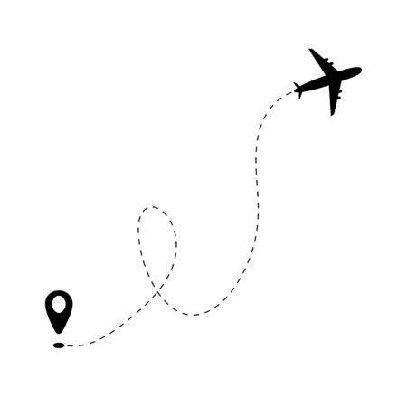 Airplane line path and start point on white background. Dash line trace of trip. Air travel and aircraft tracking. Visual flight route. Airport symbol or aviation. Infografic itinerary in sky. Vector