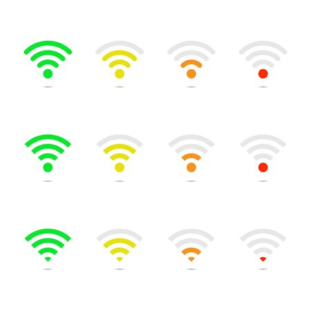 Wireless signal strength on white template. Maximum, medium, minimum wireless strength signal. Connection antenna of router. Green, yellow, orange, red indicator. High, low level signal. Free set. Vector