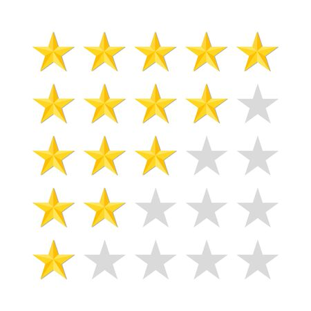 Five rating stars on white background. Top mark of quality or success. High or bad statistics. Gold stars in row for media interface, classification systems. 5 icons of likes. Rank bar in flat. Vector Ilustração