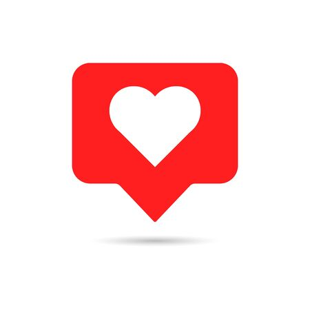 Like icon in flat style. White heart on red background. Emoji symbol for web social comments. Thumbs up button. Love hearts tag. Community emoticon notification. 1 like in popular social chat. Vector.