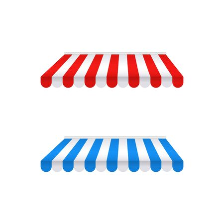 Colored awnings isolated on white background. Striped red-white and blue-white sunshade for shops, architectures, cafes and street restaurants. Outside canopy, tent, roof, from the sun or rain. Vector