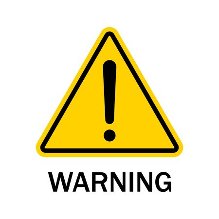 Warning sign isolated on white background. Black danger caution symbol on yellow triangle. Warning label of hazard for attention on road. Error, risk in web. Exclamation mark-accident message. Vector.