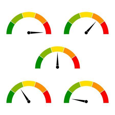 Icônes de compteur de vitesse avec des flèches. Tableau de bord avec indicateurs vert, jaune, rouge. Éléments de jauge de tachymètre. Niveaux de risque faible, moyen, élevé et de risque. Échelle du score de vitesse, de performance et de puissance nominale. Vecteur Vecteurs